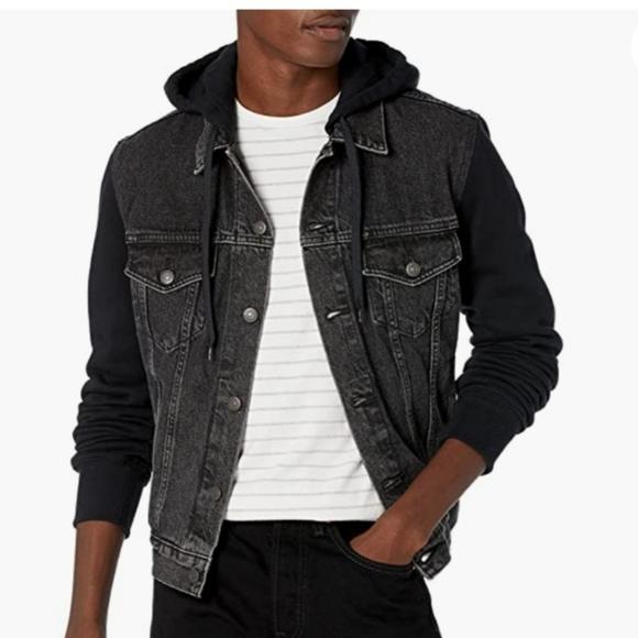 Levi's Strauss trucker black jacket hooded XXL